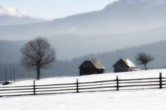 Azienda agricola sola nell'inverno Fotografia Stock Libera da Diritti