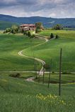 Azienda agricola in Val D'Orcia, vicino a Pienza. L'Italia immagine stock libera da diritti