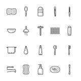 Łazienki ikony kreskowy set Zdjęcia Stock