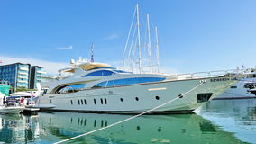 Azimut Grande super luxury yacht at Yacht Show Royalty Free Stock Images