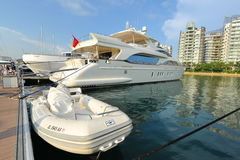 Azimut super yacht on display at the Singapore Yacht Show 2013 Royalty Free Stock Image