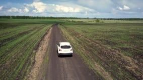 Azionamenti bianchi dell'automobile di vista aerea lungo la strada a terra attraverso i campi archivi video
