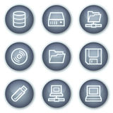Azionamenti ed icone di Web di memoria, cerchio minerale Fotografia Stock