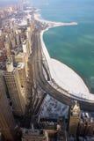 Azionamento del puntello del lago chicago in inverno Fotografia Stock
