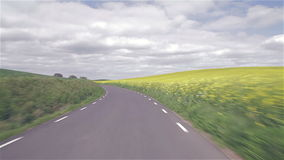 Azionamento dell'automobile su attraverso le colline di erba e del seme di ravizzone archivi video