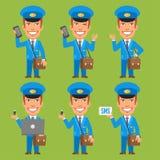 Azionamento dell'istantaneo del computer portatile del telefono della tenuta del postino illustrazione di stock