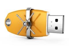 Azionamento dell'istantaneo del Usb con la serratura sicura Fotografia Stock Libera da Diritti