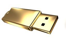 Azionamento dell'istantaneo del USB dell'oro Fotografia Stock