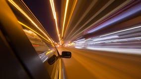 Azionamento della città di notte in macchina Fotografia Stock Libera da Diritti