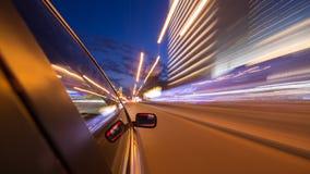 Azionamento della città di notte in macchina Immagine Stock Libera da Diritti