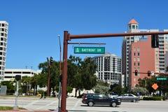 Azionamento della parte anteriore della baia di Sarasota Fotografie Stock Libere da Diritti