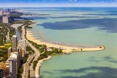 Azionamento della riva del lago chicago Fotografia Stock