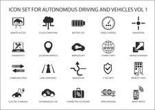 Azionamento di auto ed icone dei veicoli autonomi Fotografie Stock Libere da Diritti