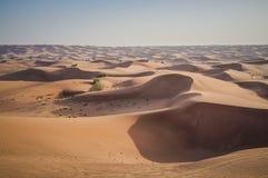 Azionamento di fuoristrada nelle dune di sabbia del deserto del Dubai fotografia stock libera da diritti