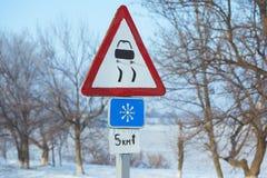 Azionamento di inverno - strada campestre della strada di inverno Immagini Stock Libere da Diritti