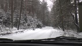 Azionamento di inverno - strada di inverno archivi video