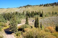 Azionamento di veicolo 4WD con il paesaggio alpino Fotografie Stock
