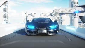 Azionamento molto veloce elettrico futuristico nero dell'automobile nel sity di fi di sci, città Concetto di futuro rappresentazi royalty illustrazione gratis