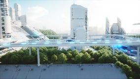Azionamento molto veloce elettrico futuristico nero dell'automobile nel sity di fi di sci, città Concetto di futuro rappresentazi illustrazione vettoriale