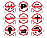 Azionamento per non permettere i segni severi Logo Icons Fotografie Stock