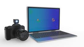 Azionando la macchina fotografica schermi come edizione del computer, la rappresentazione 3d Fotografia Stock