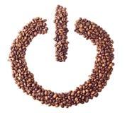 'Azionato' il simbolo inserita/disinserita dai chicchi di caffè Fotografia Stock Libera da Diritti