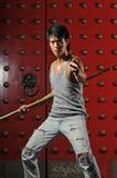Azione asiatica di lotta intestina dell'uomo Fotografia Stock Libera da Diritti