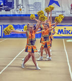 Azione Cheerleading di campionato Immagini Stock Libere da Diritti