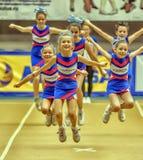 Azione Cheerleading di campionato Fotografie Stock