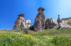 Azione corrosiva degli elementi delle figure, la valle di amore, Cappadocia, Turchia immagine stock libera da diritti
