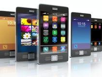 Azione dei telefoni dello schermo attivabile al tatto illustrazione di stock