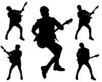 Azione del chitarrista nello stile della roccia Immagine Stock