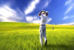 Azione dell'oscillazione del giocatore di golf Immagini Stock Libere da Diritti