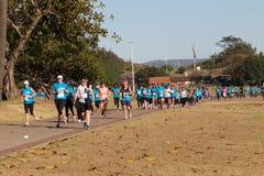 Azione della corsa maratona delle signore Fotografie Stock Libere da Diritti
