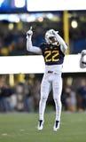 2014 azione di calcio del NCAA - stato di WVU-Kansas Fotografia Stock Libera da Diritti