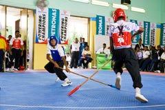 Azione di combattimento del bastone (Silambam) Fotografia Stock Libera da Diritti
