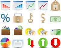 Azione di finanze ed icona di economia Immagini Stock