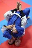 Azione di judo - tecnica di presentazione Fotografia Stock Libera da Diritti