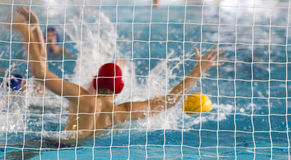 Azione di Waterpolo Fotografie Stock