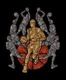 Azione dunking della palla della sgocciolatura del giocatore di squadra di pallacanestro illustrazione vettoriale
