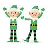 Azione felice del carattere di Elf, Buon Natale Fotografia Stock Libera da Diritti