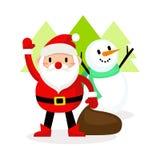 Azione felice del pupazzo di neve e del Babbo Natale, Buon Natale Fotografie Stock Libere da Diritti