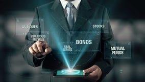 Azione Real Estate degli oggetti d'antiquariato dei fondi di investimento mutualistici di obbligazioni dei metalli preziosi di in stock footage