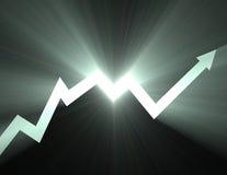 Azione sul chiarore dell'indicatore luminoso della freccia Fotografia Stock