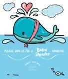 Azione sveglie di vettore dell'invito della doccia di bambino della balena royalty illustrazione gratis