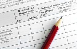 Votando all'assemblea generale annuale Immagine Stock