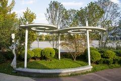 Azja chińczyk, Pekin, Ogrodowy expo, krajobrazowa architektura, krajobrazowy pawilon, lampa Zdjęcia Royalty Free
