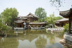 Azja chińczyk, Pekin, Yu ogród, Klasyczna ogrodowa architektura, podwórze Obrazy Royalty Free