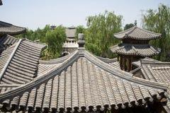 Azja chińczyk, Pekin, Yu ogród, Klasyczna ogrodowa architektura, szarość dach, szarości płytka Fotografia Stock