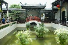 Azja chińczyk, Pekin, Chiny Ogrodowy muzeum, salowy podwórze, Suzhou Jiangnan Zdjęcia Royalty Free